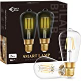 DORESshop Wi-Fi Smart ST64 LED Edison Bulb, E26 Dimmable 8W(60W Equivalent) Vintage Edison WiFi LED Filament Light Bulb, Dimm
