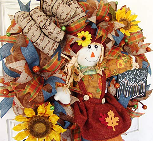 CLEARANCE!! Scarecrow Girl, Sunflower Decor, Deco Mesh Front Door Wreath, Door Hanger, Country Home, Farmhouse Decoration, Porch Sign