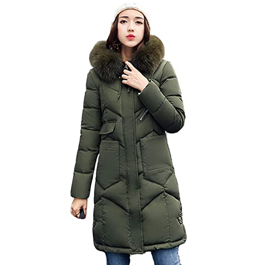 Jifnhtrs Winter Women Hooded Coat Fur Collar Thicken Warm Long Jacket Outerwear Parka,Army Green