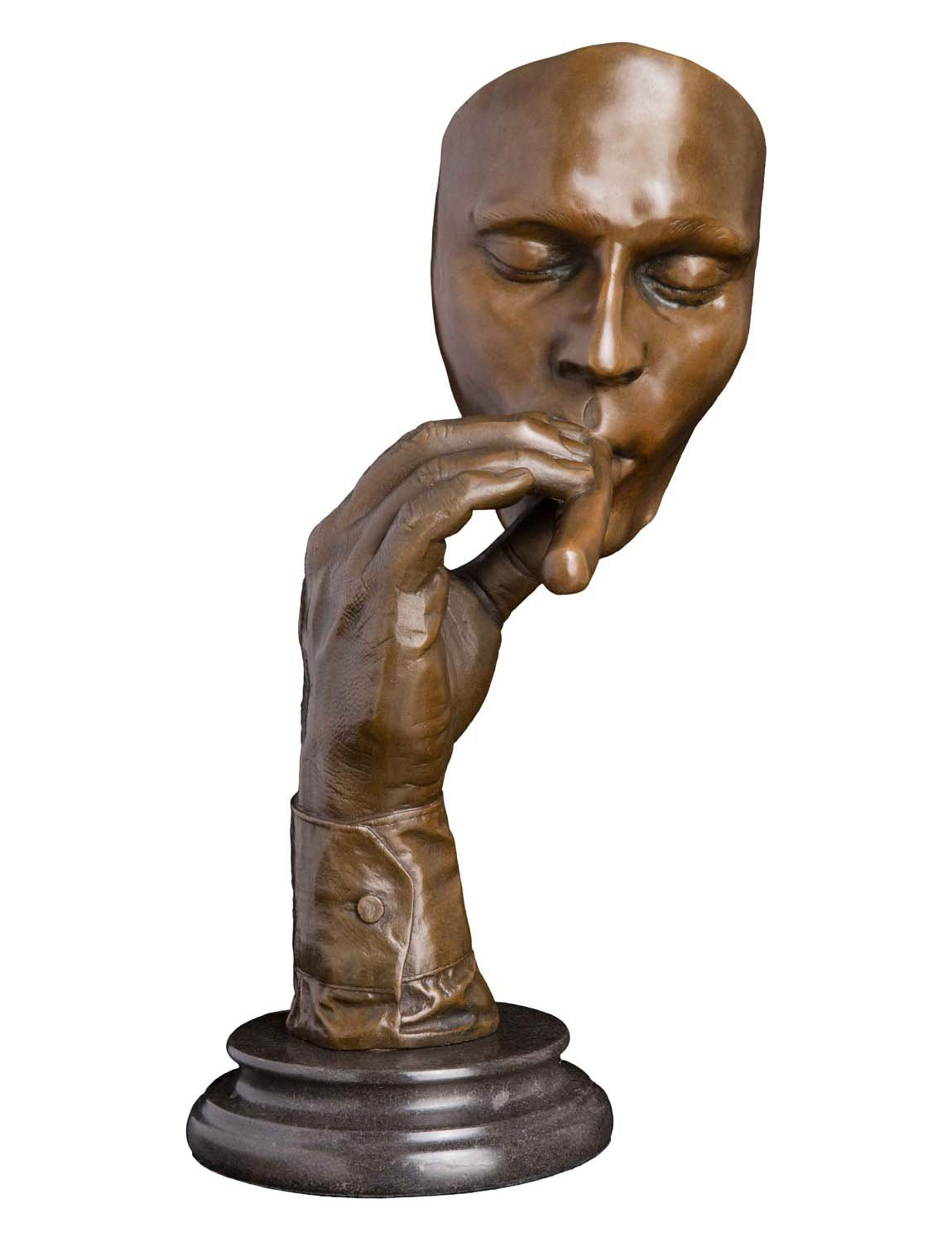 Artylife Lost Wax European Bronze Sculpture Smoking Man Cigar Marble Base Figurine by Dali Bronze Statue Home Decor Collectible Gift by Artylife (Image #4)
