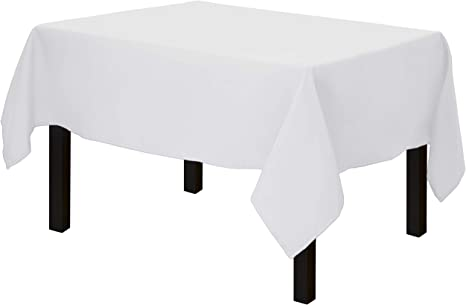 Single-White 132 * 132cm square Table Cloth Cover for Wedding//Banquet//Restaurant//Party Kapwall white Tablecloth Polyester Fabric 52 * 52inch