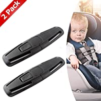 obqo 2 Packs Car Safety Seat Strap Belt Lock Tite Harness Clip Safe Buckle for Baby (Black) …