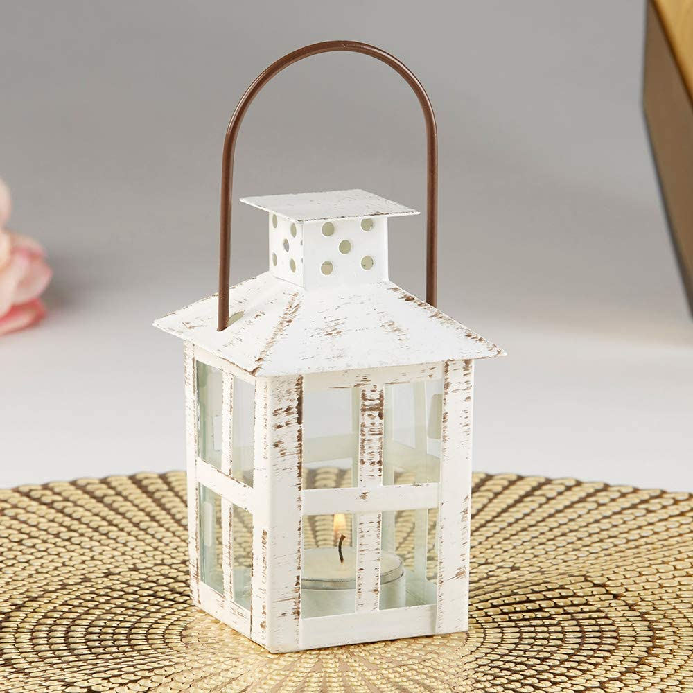 Vintage white distressed small candle lantern