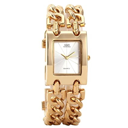 Hunputa Fashion Women Stainless Steel Wristwatches Quartz Watch Luxury Gold Watch Dress Relojes Ladies Gifts (