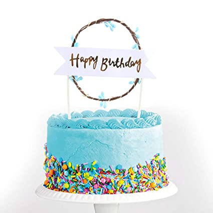 Happy Birthday Cake Images.Amazon Com Happy Birthday Cake Toppers Blue Led Light Happy