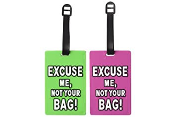 23c0e5082535 Silicone Suitcase Luggage Tags ID Holder - Excuse Me, Not Your Bag