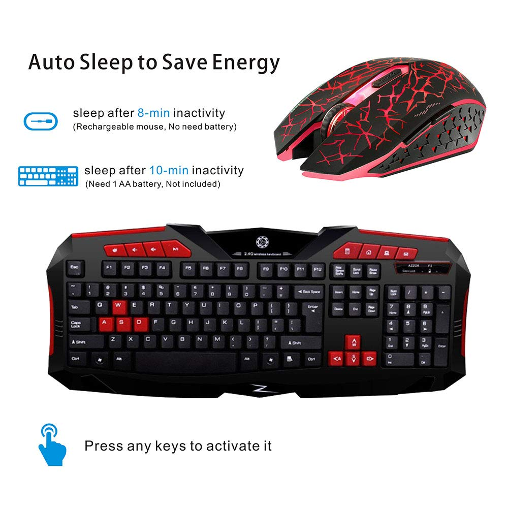 Computer Blue Picktech F1 Wireless Keyboard Mouse Combo Laptop Notebook Desktop 2.4GHz Full Size Waterproof Keyboard and Optical Wireless Gaming Mouse Set Compatible with PC