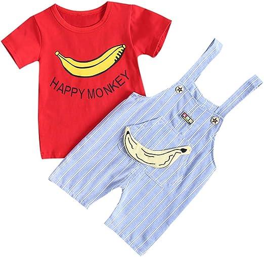 BeautyTop Baby M/ädchen Sommer Outfits Set Kurzarm Rundhals Karikatur Drucken Tops Einfarbig Shorts Zweiteiliges Baby Toddler Kleidungsset
