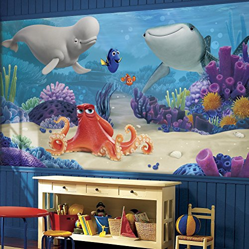RoomMates JL1384M Ultra Strippable Finding Dory XL Chair Rail Prepasted Mural, 6' x 10.5'