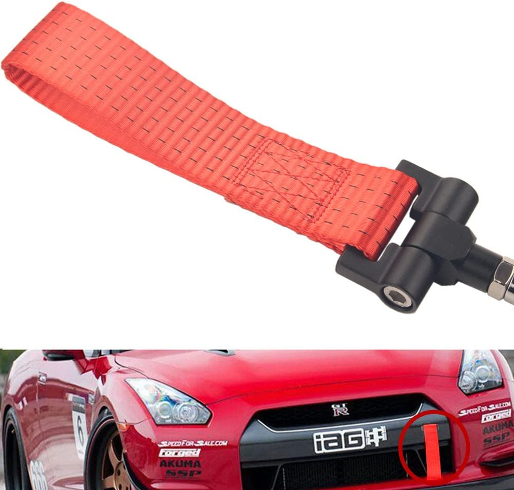 Dewhel JDM Front Bumper Tow Hook License Plate Mount Bracket Holder Tow Hole Adapter Bolt On For Nissan 370Z Juke GT-R Infiniti G37//Q60 Coupe