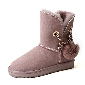 Botas Zapatos de Mujer Botines Pelota de Pelo Nieve cálidas Cortas Mujer Calzado Corto de Terciopelo
