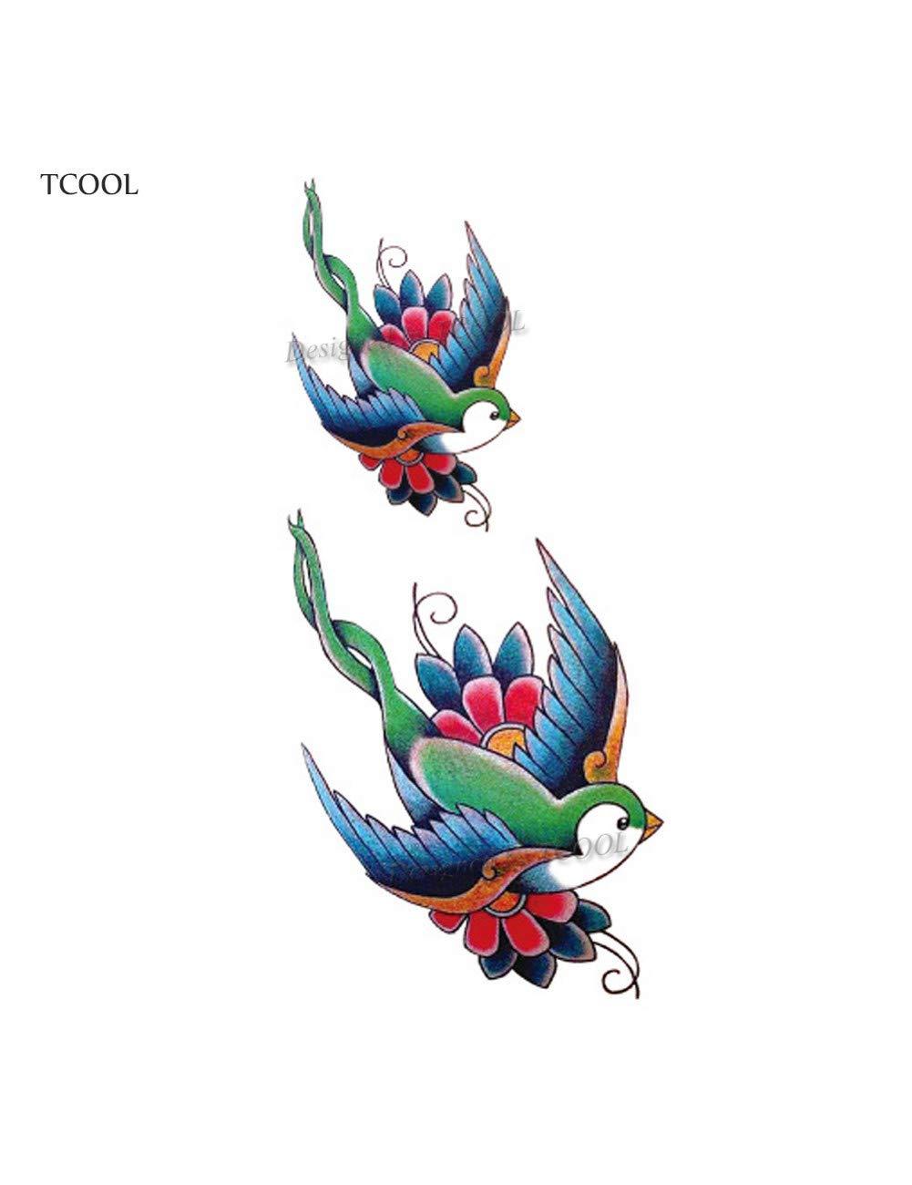 ASTTY Etiqueta Engomada del Tatuaje Gorrión Colorido Pájaros ...