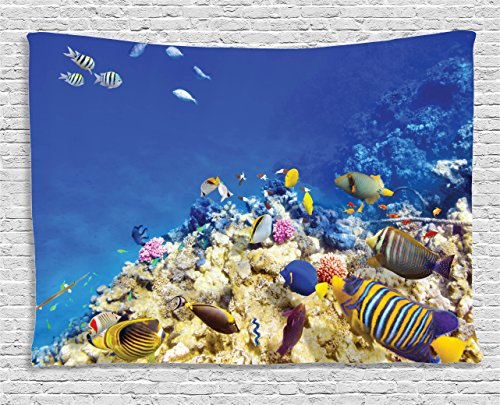 Ocean Decor Tapestry by Ambesonne, Underwater Life Wilderness Caribbean Ocean Vacation in Tropics Seascape Theme Image, Wall Hanging for Bedroom Living Room Dorm, 80 X 60 Inches, Blue Beige (Tapestry Sister)
