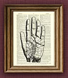 PALM READING CHART beautifully upcycled vintage dictionary page book art print
