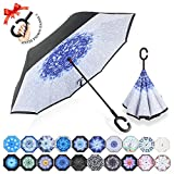 : ZOMAKE Double Layer Inverted Umbrellas for Women, Reverse Folding Umbrella Windproof UV Protection Big Straight Umbrella for Car Rain Outdoor With C-Shaped Handle (Frost Flower)