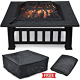 """Yaheetech 32"""" Outdoor Metal Firepit Backyard Patio Garden Square Stove Fire Pit With cover"""