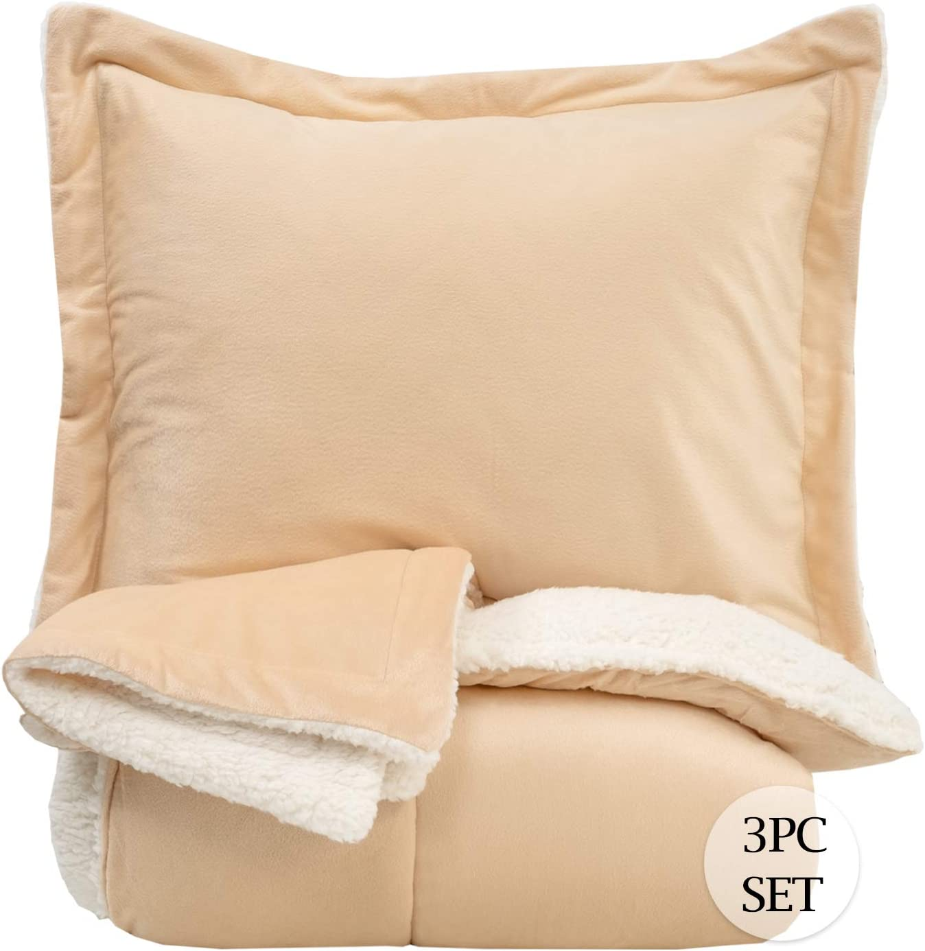 Sweet Home Collection Comforter Set 3 Piece Sherpa Soft and Luxurious Plush All Season Warmth Down Alternative Reversible to Solid Color with 2 Shams, King, Cream