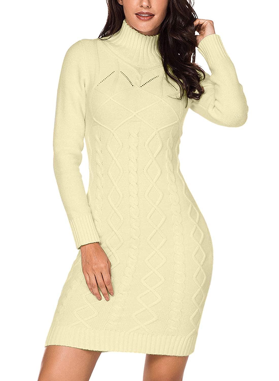 77c59cee07b90 Azokoe Womens Winter Casual Slim Fit Knit Sweater Bodycon Mini Dress at  Amazon Women's Clothing store: