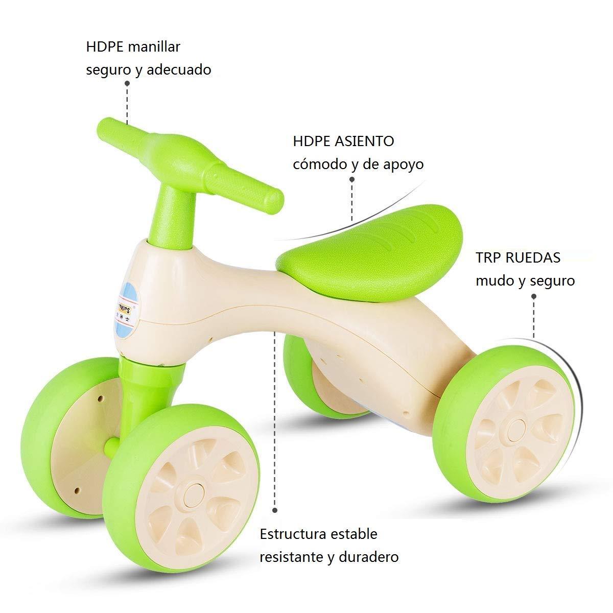 57b2a6770 ... COSTWAY Bicicleta Sin Pedales con 4 Ruedas Niños Balance Balance  Balance Bicicletas Juguetes Carga Máxima 20kg ...