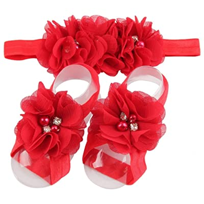 Elevin(TM) Children Baby Cute Flower Barefoot Sandal Shoes with Headband (Red) : Baby