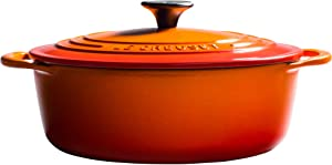 Le Creuset of America Le Creuset L25453A-222S 2.75 qt. Shallow, 2.75qt, Flame Cast Iron Dutch Oven