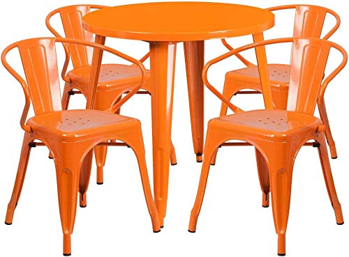Flash Furniture Commercial Grade 30″ Round Orange Metal Indoor-Outdoor Table Set