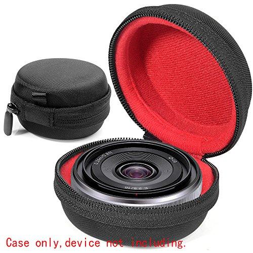 WGear Semi-Hard Lense Case for DSLR Camera Lens (Canon, Nikon, Sony, Pentax, Olympus, Panasonic,etc), Medium Size with Carabiner, lens cleaning wipe (Black Medium) (Black X-Small)