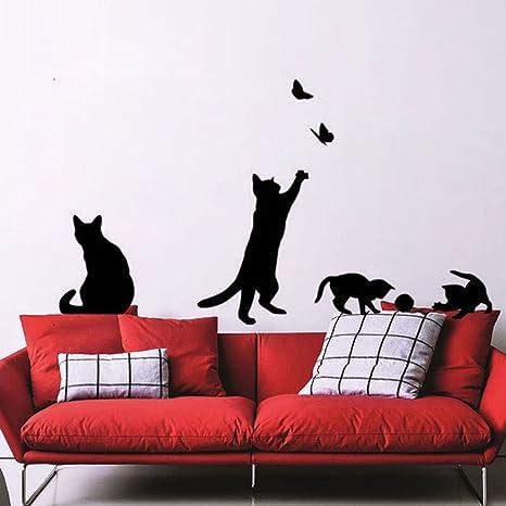 Fablcrew Halloween Sticker Mural Chat Autocollant Mural D/écoration de Fen/être Amovible Imperm/éable