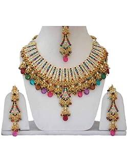 194f3714a91f1a Fkraft Parure Bijoux Indiens Bollywood Mariage Oriental Bleu Vert et doré