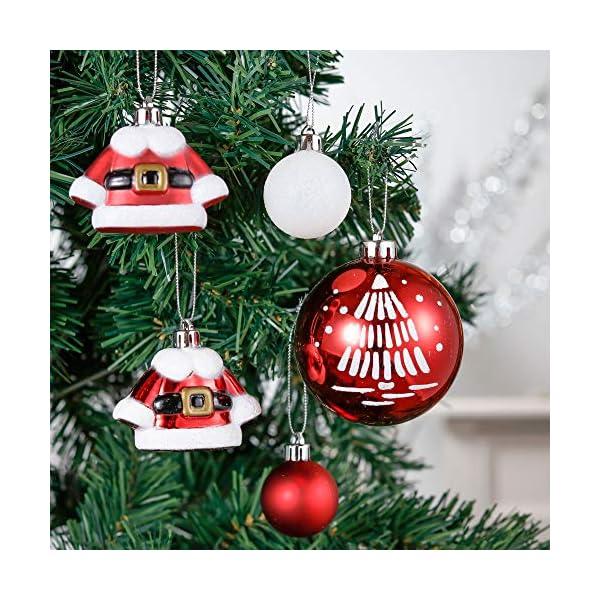 Valery Madelyn Palle di Natale 50 Pezzi di Palline di Natale, 3-5 cm Decorazione Tradizionale Rossa e Bianca Infrangibile con Palle di Natale per la Decorazione Dell'Albero di Natale 5 spesavip