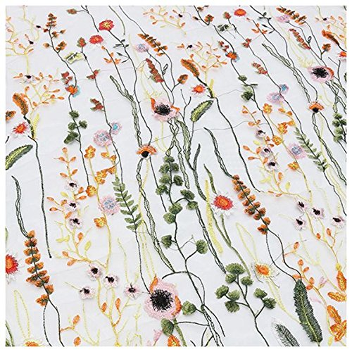 SODIAL(R) 1 Yard Vintage Floral Embroidery Mesh Wedding Dress Lace Fabric 53 inch Width, White-Yellow ()