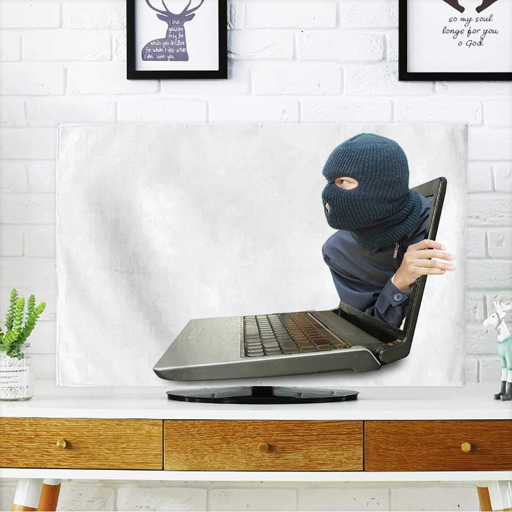 PRUNUS tv dust Cover Computer Crime Concept Dust Resistant Television Protector W30 x H50 INCH/TV 52''
