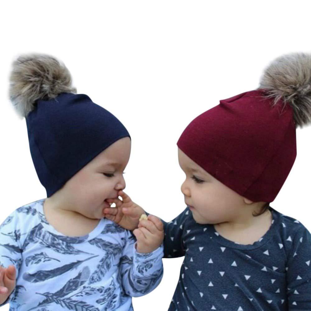 WARMSHOP Unisex Newborn Boys Girls Solid Organic Beanies
