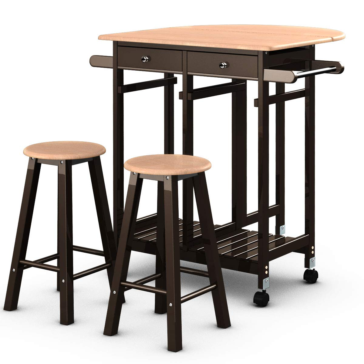 Giantex 3PCS Wood Kitchen Rolling Casters Fold Table Drop Leaf 2 Drawers with 2 Stools by Giantex