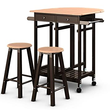 Giantex 3PCS Wood Kitchen Cart with Rolling Casters Dining Table Set with Folding Drop Leaf 2 Drawers Kitchen Island Cart with 2 Stools