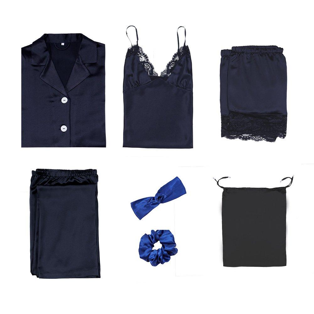 LilySilk 7pcs 22 momme Silk Pajamas Set Long and Short Sleeve Tops Bottoms Sleepwear Summer Winter Hair Band Tie Silk Travel Bag Navy Blue L/12