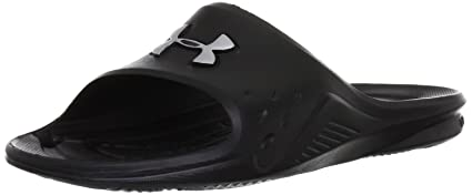 63aee2587c8 Amazon.com  Under Armour Men s Locker II Slide Black Silver - 13 ...