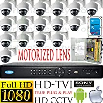 USG Business Grade 1080p 2MP HD-TVI 16 Camera CCTV Kit 16x Motorized Lens 2.8-12mm Dome Cameras + 1x 16 Channel 1080P DVR + 1x 4TB HDD + 1x 18 Channel CCTV Power Supply Box View On Apple & Android