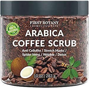 100% Natural Arabica Coffee Scrub with Organic Coffee, Coconut and Shea Butter – Best Acne, Anti Cellulite and Stretch…