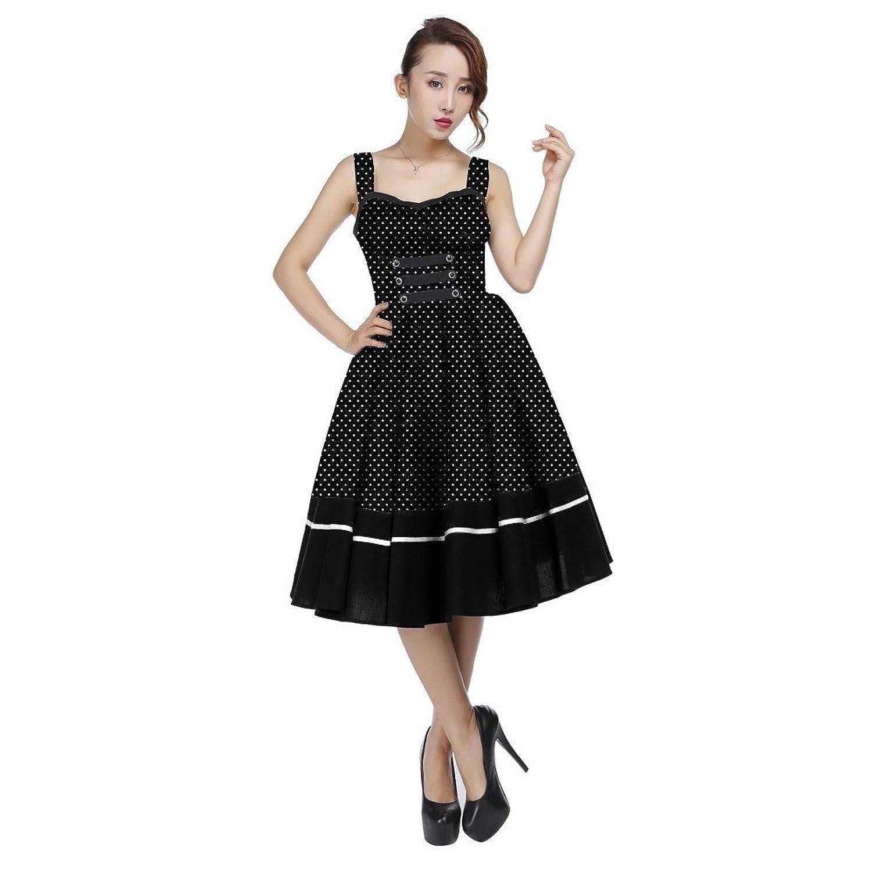 Chic Star 50's Black Retro Pin Up Polka-Dot Full Skirted Dress UK Sizes 6,8,10,12,14,16,18,20,22,24,26,28,30