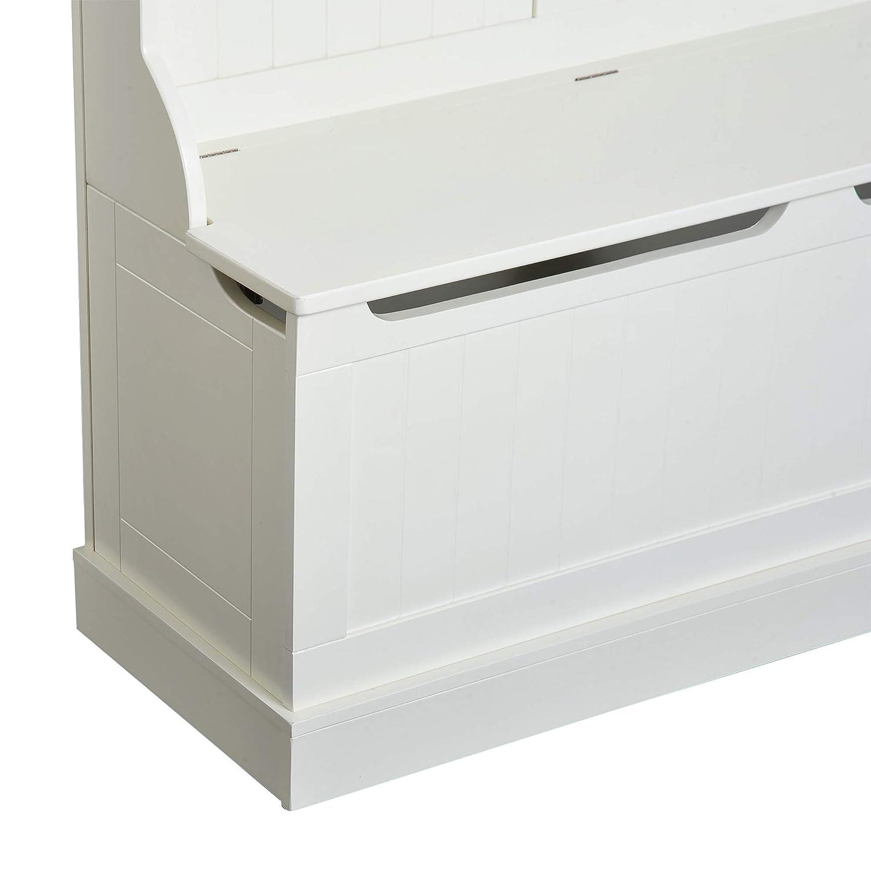 HOMCOM Perchero con Banco Conjunto de Pasillo Mueble Recibidor 5 Ganchos Espacio de Almacenaje 96x34x179.7cm Blanco