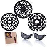 Trivet Set - 3 Silicone Round Trivets and 2 Handle Holders - Modern Hot Pads - Flexible Heat Resistant Dish Mats - Non Slip Coasters - Jar Opener - Intricately Carved and Decorative - by Kitchen Gold