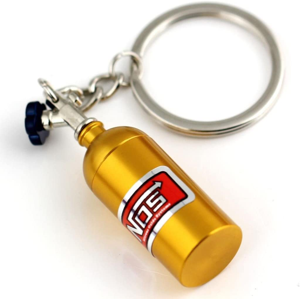 maycom Creative New NOS Mini Nitrous Oxide Bottle Keyring Key Chain Ring Keyfob Stash Pill Box Storage Turbo Keychain Silver