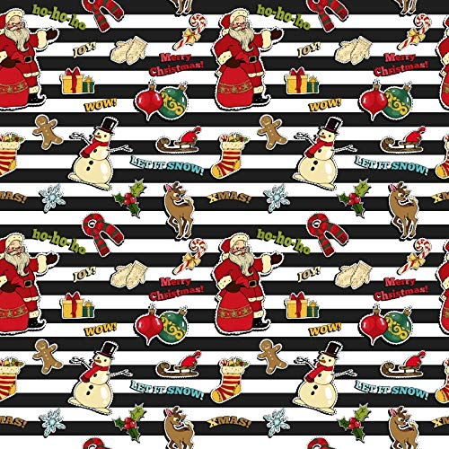 - Laeacco 6.5x6.5ft Merry Christmas Illustration Backdrop Vinyl Photography Background Black White Stripes Snowman Santa Claus Celebrate Festival Party Background Studio Props