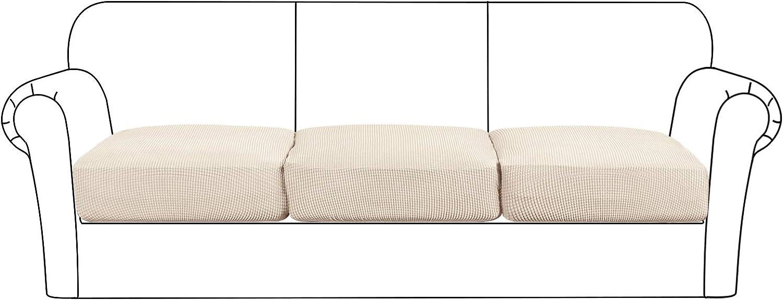 High Stretch Seat Cushion Cover Sofa Cushion Furniture Protector fot Sofa Seat Sofa Slipcover Sofa Cover with Elastic Bottom (3 Pieces Cushion Covers, Biscotti Beige)