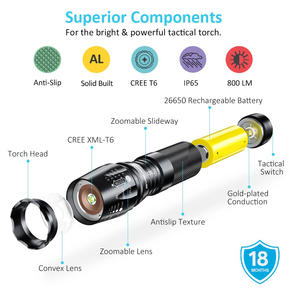 Byblight Rechargeable Led Torch Super Bright 800 Lumen Adjustable How To Make A Flashlight Bulb 8211 For 2 15 Volt Batterie Focus Tactical With 26650 Powerful Battery Ip65 Waterproof Camping