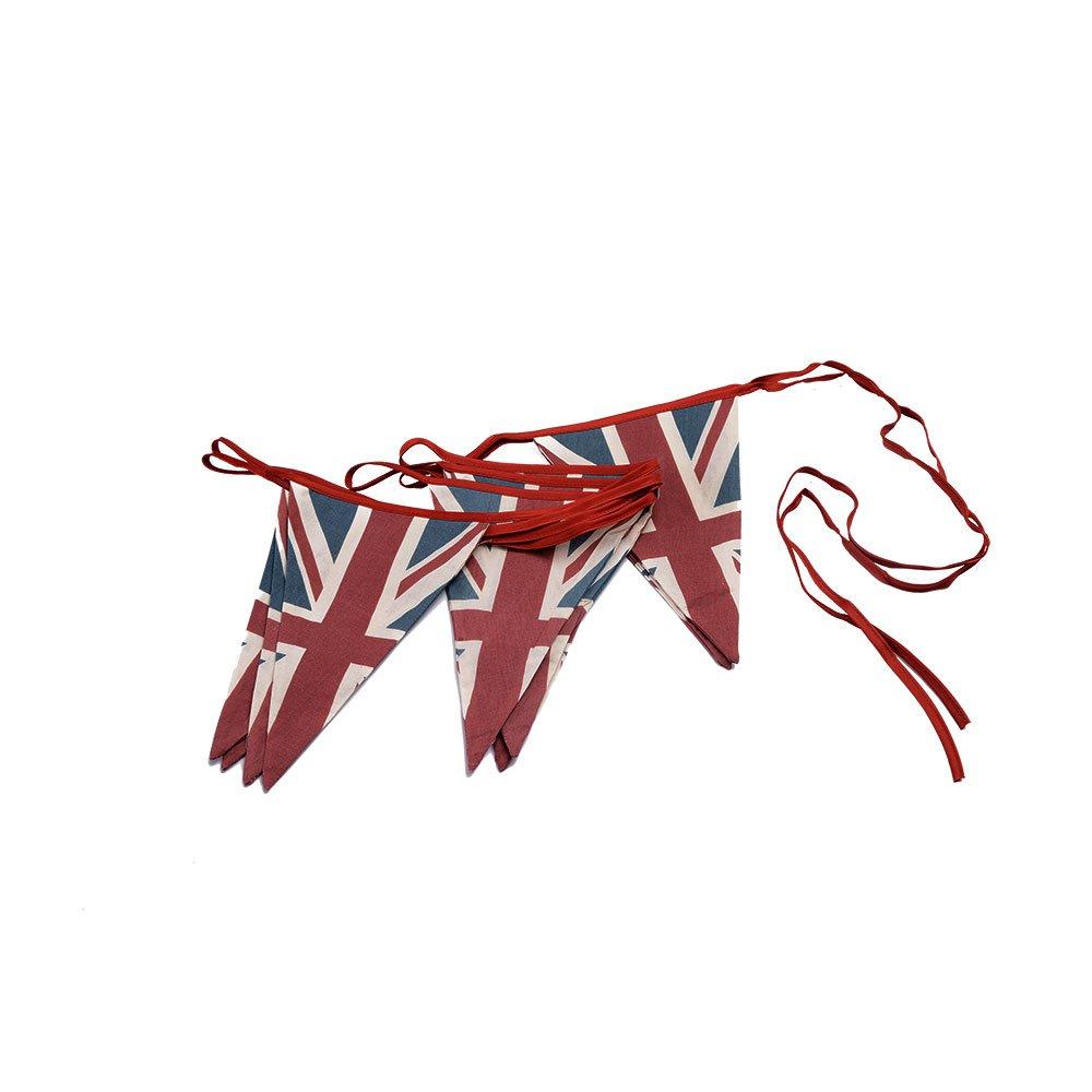 ASVP Shop Vintage British Union Jack Textile Flag Cloth Fabric Bunting Retro Banner UK (5 m, Red, Blue, White)