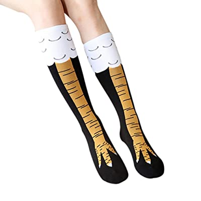Suma-ma Women Girl Funny Casual Chicken Creative Print Cartoon Thigh Socks