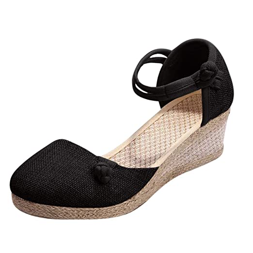 Damas de Mujer Lienzo Retro Cuña Lienzo Cuadrado Punta Redonda Sandalias Zapatos Singles Cuña de Color sólido con Hebilla de cáñamo Retro Hebilla Zapatos ...