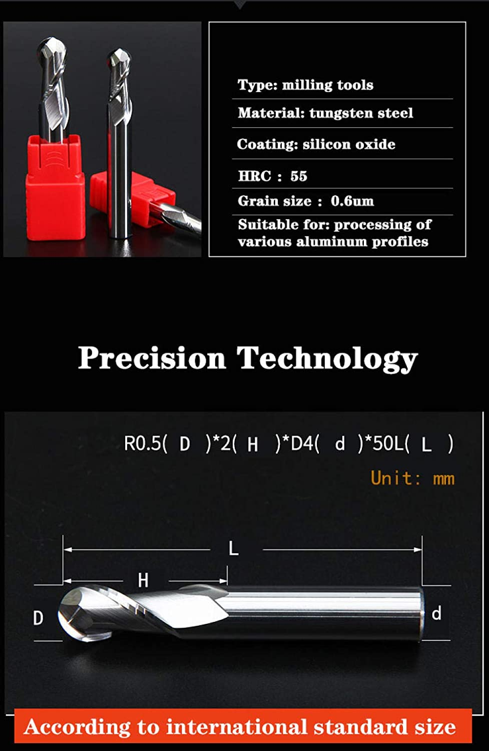 Milling Cutter 2 Flute Cutting HRC55 2mm 3mm 4mm Aluminium Copper Machining CNC Tungsten Steel Sprial Bit Milling Cutter Ball Nose End Mill R1-R6x24xD12x100L R4x16xd8x75l